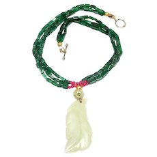 Vintage Jade Leaf on Multi Strand Aventurine, 18K Gold