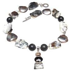 Dendritic Agate Slices, Black Nephrite jade, Handmade Silver Necklace with Smoky and Tourmaline Quartz Pendant