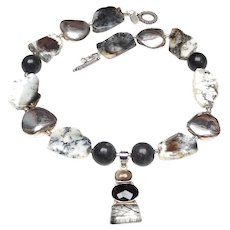 Smoky, Tourmaline Quartz in Silver, on Agate, Jade, Silver
