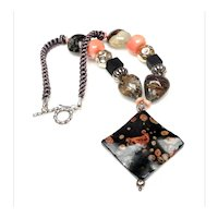 Fossilized Stone on  Onyx, Coral, Moss Agate