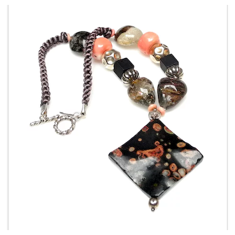 Fossilized Stone with Sterling Silver, on Necklace of Natural Onyx, Coral, and Landscape Moss Agate