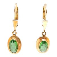 Antique Victorian Gold Peridot Drop Earrings
