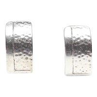 Shiny Sterling Silver,  Etched  Vintage Half Loop Earrings