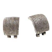 Handsome Chunky  Silver Vintage Half Loop earrings