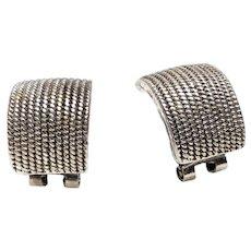 Handsome Chunky Sterling Silver Vintage Half Loop earrings