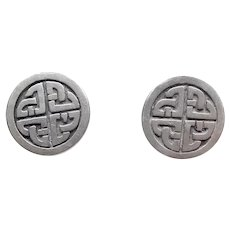 Vintage Silver Flat Disc Earrings Engraved with Celtic Knot Design