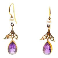 Antique Edwardian Amethyst, Cultured Pearls and 14 CT Gold Earrings
