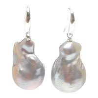 . Large, Cultured Silver-Grey Baroque Pearl Drop Earrings