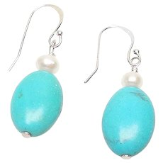 Natural Turquoise and Cultured Pearl Drop Earrings