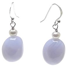 Natural Blue Lace Agate and Culture Pearl Drop Earrings