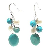 Stunning Natural Turquoise and Cultured Pearl Dangle Earrings