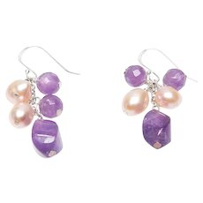 Romantic Natural Amethyst and Cultured Pink Pearl Dangle Earrings