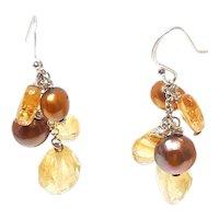 Elegant Citrine and Cultured Tan Pearl Dangle Earrings
