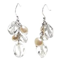 Chic Crystal and Cultured White Pearl Dangle Earrings