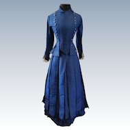Stunning Lady's Indigo Blue Silk Faille Victorian Walking Suit Circa 1870s
