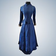 Stunning Lady's Indigo Blue Silk Faille Victorian Walking Suit Circa 1870s
