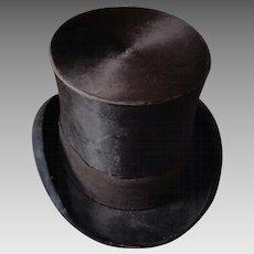 Handsome Men's Victorian Beaver Silk Top Hat circa 1870s-1880s