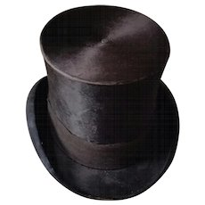 Handsome Men's Victorian Beaver Silk Top Hat circa 1870s-1880s