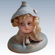 All Original Doll Head Hat Stand From the 1920s or 30s Lenci Type in Blue.