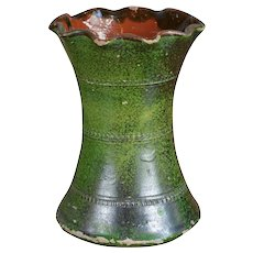 French Terra Cotta Green Glazed Vase