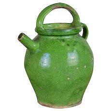 Rustic French Terra Cotta Green Glazed Jug