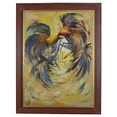 Framed Mid Century Painting Of Roosters Fighting