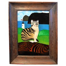 Early 20th Century Spanish Folk Art Reverse Painting of Cat and Rock of Gibraltar