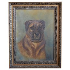 Early 20th Century Portrait Painting Of A Dog