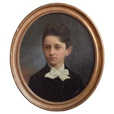 19th Century Portrait Painting Of A Boy