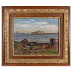 Late 19th Century Rocky Shoreline Framed Oil Painting By R. D. Hodgkins