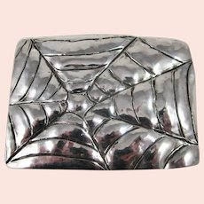 Sterling Silver Hand Made Spider Web Belt Buckle