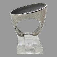 Sterling Silver 15x22 mm Oval Black Onyx Ring