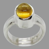 Sterling Silver 9x7 mm Oval Citrine Ring