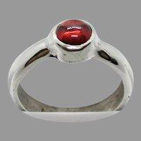 Sterling Silver 5mm Round Rhodolite Garnet Ring