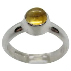 Sterling Silver 5mm Round Citrine Ring