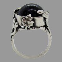 Sterling Silver Round 13mm Azurite Ring