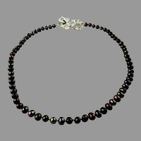 Peacock Black Freshwater Cultured Pearls With Sterling Silver Clasp