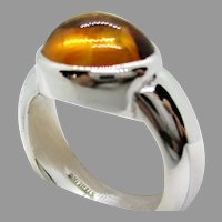 Sterling Silver 9 x 11 mm Oval Citrine Ring