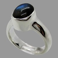 Sterling Silver 9 x7 mm Oval  Cabochon Labradorite Ring