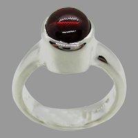 Sterling Silver 9 x7 mm Oval Cabochon Rhodolite Garnet Ring