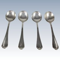 Tiffany Sterling Silver 4 pcs Flemish Round Cream Soup Spoons