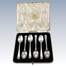 English Sterling Silver Boxed Set of Six Demitasse Spoons