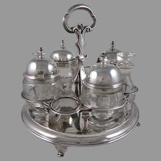 George III English Sterling Silver  7 Piece Cruet Set London 1789