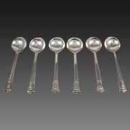 Set of Six Tiffany San Lorenzo Sterling Silver Bouillon Spoons