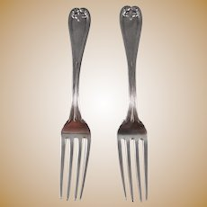 """2 Tiffany Sterling Silver """"Colonial"""" Dinner Forks"""