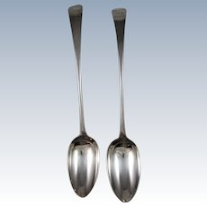 A Pair Of George III Large English Sterling Silver Serving Spoons By Hester Bateman