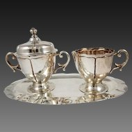 Sterling Silver 3 Pcs. Sugar & Creamer Set With a Tray