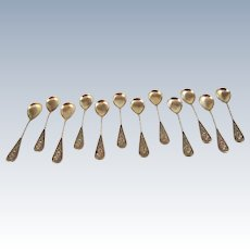 Set of 12 .800 Silver German Sherbert Spoons