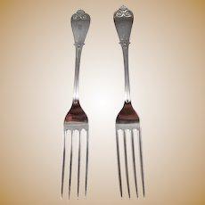 "2 Tiffany Sterling Silver ""Beekman"" Dinner Forks"