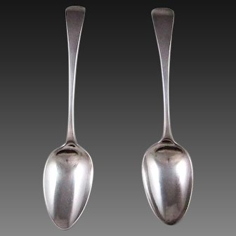 A Pair Of English George III Sterling Silver Desert Spoons 1802-1803
